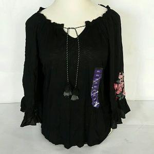Vintage America Blouses Color Black Size XXL